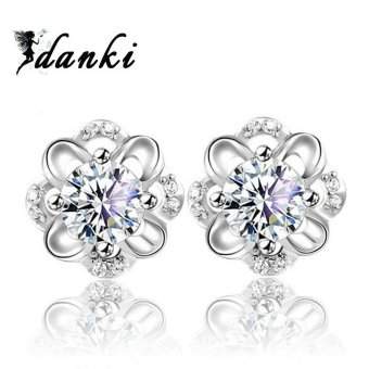 1ct CZ Diamond Earrings Women's Cute Jewelry Gift Solid 925 Sterling Silver Stud Earrings - intl