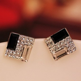 1pair New Women Lady Elegant Full Rhinestone large stones Ear Stud Earrings