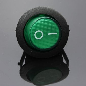 1PC Green LED Dot Dash Light Auto Round Rocker ON/OFF SPST Switch 12V 16A 3-Pin (Green) - intl Price Philippines