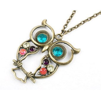 1Pcs Retro Fashion Vintage Rhinestone Big Owl Pendant Long Chain Necklace