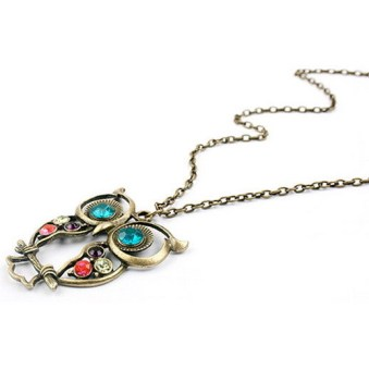 1Pcs Retro Fashion Vintage Rhinestone Big Owl Pendant Long Chain Necklace - picture 2