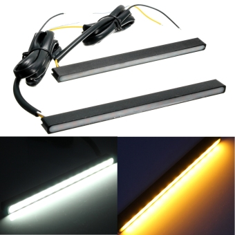 2 Pcs 15 Led Driving Daytime Running Drl Turn Signal Light 2 Colors White & Amber