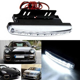 2 PCS 6000K Car Running Light 8LED DRL Car Fog Lamp White Light DC 12V - intl