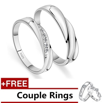 2 Pcs Adjustable Rings Couple Rings Jewellry 925 Silver Adjustable Lovers Rings E004 + Free Couple Rings E005 [ Buy 1 Get 1 Free] - intl
