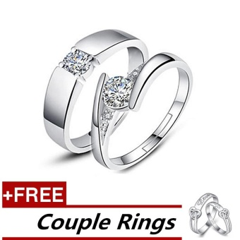 2 Pcs Adjustable Rings Couple Rings Jewellry 925 Silver Adjustable Lovers Rings E007 + Free Couple Rings E010 [ Buy 1 Get 1 Free] - intl