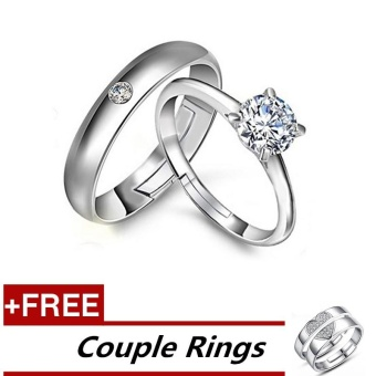 2 Pcs Adjustable Rings Couple Rings Jewellry 925 Silver Adjustable Lovers Rings E019 + Free Couple Rings E026 [ Buy 1 Get 1 Free] - intl