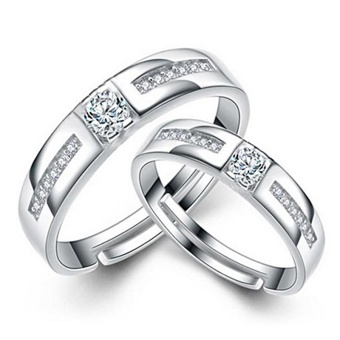 2 PCS Adjustable Rings Couple Rings Jewellry 925 Silver Lovers Rings E024 - intl