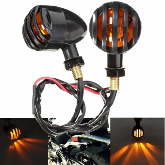 2 PCS Black Plastic Amber Motorcycle Grill Indicator Turn Signal Light Lamp For Harley