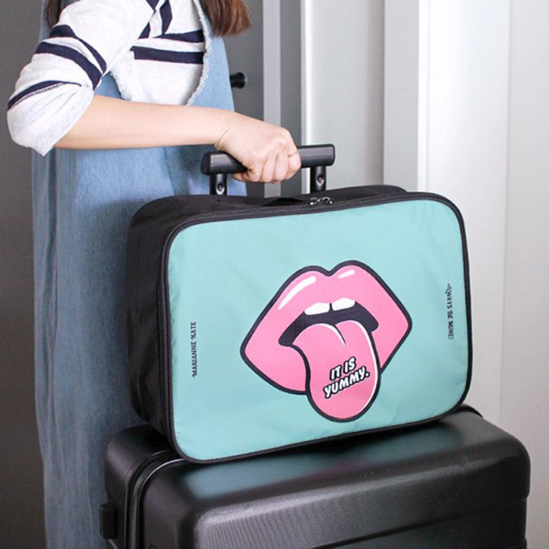 2 Pcs Cute Luggage Bags Waterproof Nylon Travel Totes Storage Bags ...