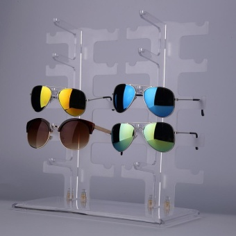 2 Row 10 Pairs Sunglasses Glasses Rack Holder Frame Display Stand Transparent - intl