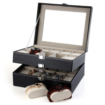 20 Grids Watch Display Case PU Leather Jewelry Storage Box Organizer - intl