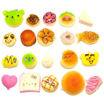 20 Pcs Kawaii Mini Squishy Soft Simulated Food Panda Bread CakeBuns Pendants Key Rings Keychains Phone Chain Straps OrnamentsAccessories Random Style - intl