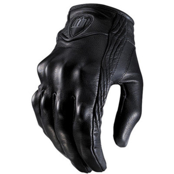 2016 High Quality Men Motorcycle Gloves Outdoor Sports Full Finger Short Leather Gloves without hole M(black)
