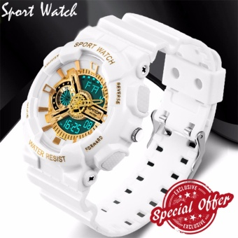 2016 New Watch Men G Style Waterproof Sports Military Watches SShock Fashion LED Digital Watch Men(White and gold)