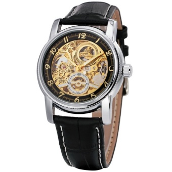 2016 Sport Design Golden Watch Mens Automatic Movement MechanicalWatch Genuine Leather Top Brand Skeleton Watches Men Luxury 010 -intl