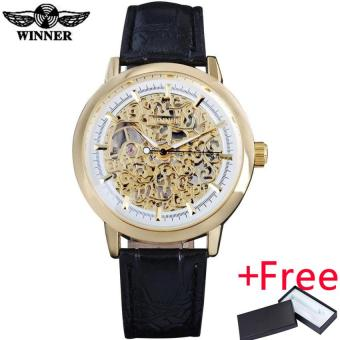 2016 WINNER famous popular hot mechanical brand for men man fashioncasual classic skeleton watches gold white dial leather band