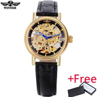 2016 WINNER watches women lady luxury brand skeleton automatic mechanical wristwatches artificial leather band relogio feminino Price Philippines