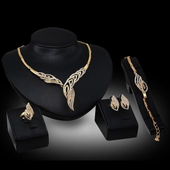 2017 Exaggerated 18k Gold Plated Alloy Crystal Women Fashion Ring Bracelet Necklace and Earrings Accessories Jewelry Set of Four - intl
