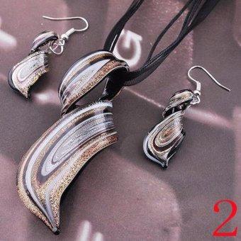 2017 Fashion Glass Pendant Necklace Earrings Set Womens Twisty Lampwork Glass Earring Sets - intl - 2