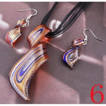 2017 Fashion Glass Pendant Necklace Earrings Set Womens Twisty Lampwork Glass Earring Sets - intl - 4