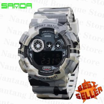 2017 Men's Digital Watch Men Sports Watches S Shock LED Military Waterproof Wristwatches(Camouflage grey)