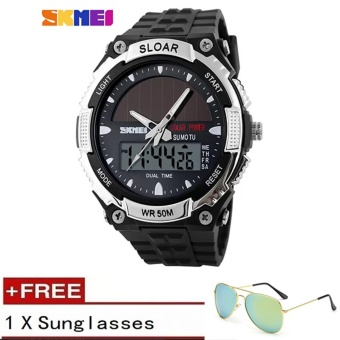 2017 New Relogio Solar energy Watch Men Sports Watches LED Digital Quartz Military Outdoor Dress Clock Wristwatches SKMEI Brand 1049 (Free Sunglasses Gift) - intl