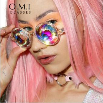2017 Versae Sunglasses Cutie Women Retro Round Crystal KaleidoscopeLense Prism Glasses Lady gaga Celebrite Party Cosplay - intl