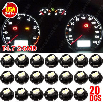 20Pcs T4.7/T5 3528 2SMD DC12V 8LM 6000K Blue Car Dashboard LED Light Bulb - intl