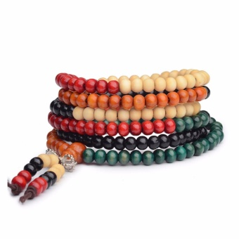 216 Beads Thai Red Sandalwood Buddhist Prayer Beads BraceletsBuddha Mala Rosary Wooden Women Charm Bracelet Bangle Diy JewelryColorful - intl Price Philippines