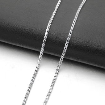 2.5MM Silver Tone Men's Stainless Steel Double Linked Curb SnakeChain Necklace - Intl