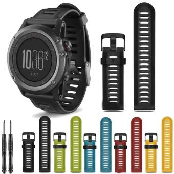 26mm Width Outdoor Sport Silicone Strap Watchband for GarminBand,Silicone Band for Garmin Fenix 3 GMFNX3SB,BLACK - intl