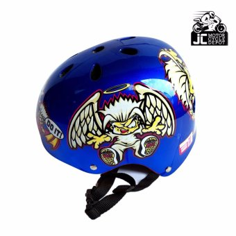 288 Z PRINTED Nutshell Half Face Crash Safety Passenger Helmet (Blue)