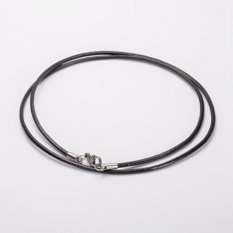2MM Men & Women Stainless Steel Lobster's Clasp Black GenuineLeather Cords Rope Chain Necklace 60cm Long - Intl