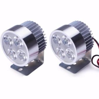 2pcs 12W 4 LED Headlight Work Head Light Driving Fog Spot Night Lamp for Motor Bike Motorcycle(SILVER COVER)
