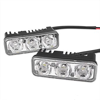 2Pcs 3 LED 6000K High Power Car DRL Daytime Running Fog Light LampUniversal - intl