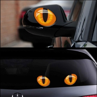 2Pcs 3D Car Styling Accessories Cat Eyes Rear View Mirror StickerMotorcycle Decal Vinyl Car Decor #12x10cm - intl