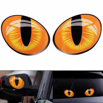 2Pcs 3D Funny Cat Eyes Car Sticker Cute Simulation Reflective Auto Decal Rearview Mirror Window Cover Decoration Exterior Accessories - intl