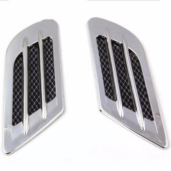 2Pcs ABS Car Side Air Vent Fender Cover Hole Intake Duct FlowGrille Decoration Sticker - intl