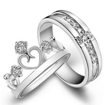 2PCS Adjustable Mosaic Zircon S925 Silver Couple Rings Lover Oath-Romantic Crown - Intl