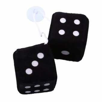 2pcs Black Fuzzy Plush Dice Dots Rear View Mirror Hanging HangersVintage Car Auto Accessories Car Decoration Car Styling - intl