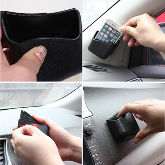 2pcs Black Universal Car Accessories Phone Organizer PVC Storage Box Holder - intl