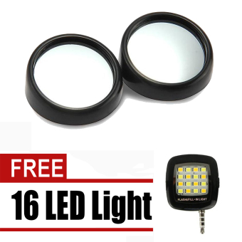 2pcs Blind Spot Rear View Rearview Mirror for Car Truck (Black)with free 16 Led Mini Selfie Led Light (Color May Vary)