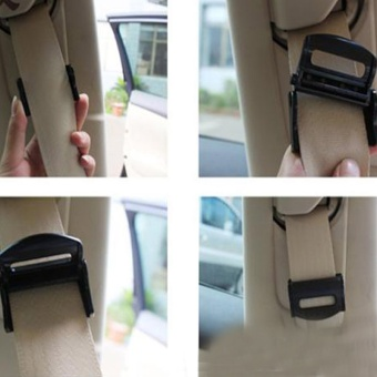 2pcs Car Seat Belts Clips Safety Adjustable Stopper Buckle PlasticClip Useful seat Auto Accessories,Black - intl