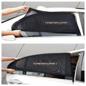 2Pcs Car Window Cover Sunshade Curtain UV Shield Visor Mesh SolarMosquito Dust Protection (Black) Price Philippines