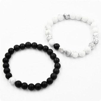 2pcs Couple Distance Bracelet for His & Hers White &BlackBeads Chain Xmas Gift - intl