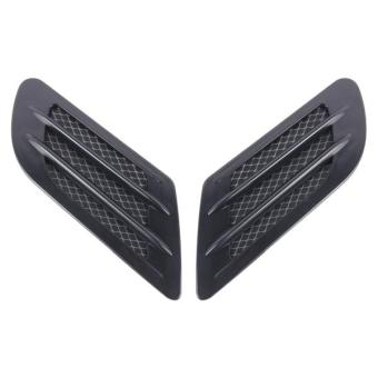 2PCS Euro Style Plastic Decorative Air Flow Intake Turbo BonnetHood Side Vent Grille Cover With Self-adhesive Sticker(Black) -intl