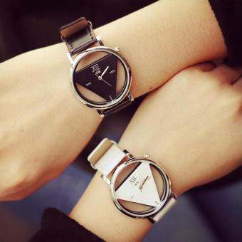 2pcs jis Hollow Out Men's Women's Couple Triangle Quartz Watches Valentine's Day Memory Gift Black White