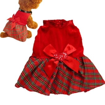 2Pcs Lovely Puppy Plaid Bow Apparel Red Dress Clothes Pet Dog Skirt(Size:S)- intl