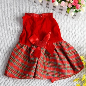2Pcs Lovely Puppy Plaid Bow Apparel Red Dress Clothes Pet Dog Skirt(Size:S)- intl - 5