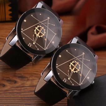 2PCS Men & Women Couple Leather Watches Minimalist Casual Wristwatch (Intl)